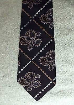 Vintage Paisley kipper tie 4.5 inch wide Co-op Regent brown hippie 1960s 1970s